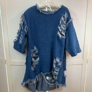 Trixxie distressed denim tunic size 1X